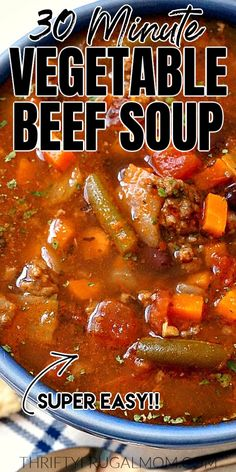 This 30 minute Easy Vegetable Beef Soup is the perfect quick, healthy meal! It's loaded with vegetables and a comforting recipe that our whole family loves- even the non-veggies lovers. Veg Beef Soup, Homemade Vegetable Beef Soup, Homemade Soup, Beef Vegetable Soup Recipe With Cabbage, Ground Beef Stews, Soup With Ground Beef, Ground Beef Recipes, Vegetable Soup Recipes, Easy Soup Recipes