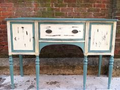 vintage painted buffet-this is the blue color I want to paint my desk