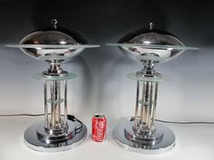 Pair of Art Deco Style Metal & Glass Lamps - MN