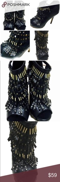 ALDO Blk Leather Studded Fringe Ankle Boot Heels ALDO Open Toe Stiletto Black Leather Gold Studded Fringes Ankle Boot. Pre-owned.   These shoes are highly fashionable with a one of a kind uniqueness & uber fun to wear! Aldo Shoes Heeled Boots