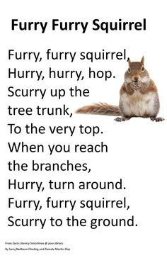 Good poem for the week of Scaredy Squirrel in Readers Workshop . Preschool Poems, Kids Poems, Preschool Music, Fall Preschool, Preschool Activities, Kindergarten Poems, Children Songs, Preschool Projects, Infant Activities