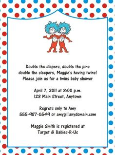 Thing One Thing Two Baby Shower Invitations | Twin Baby Shower Invitation Thing One Thing Two Dr Seuss Baby