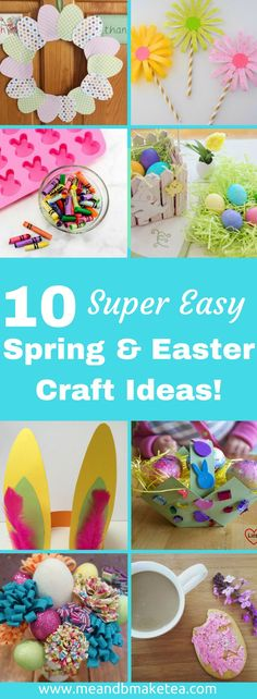 10 Easy Easter and Spring Crafts to do With Kids - perfect for snow days and rainy days!     To get us in the spring mood, I'm sharing a round-up of some cute Spring and Easter themed crafts you can do with the little ones. Have a look and let me know your thoughts! Oh and if you're looking for non-chocolate Easter gifts this year, take a look at ourbumper list of 75 ideas here!    #easter #crafts #kids