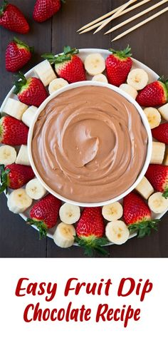 Fruit Dip Chocolate takes fruit to a new level of deliciousness especially once the chocolate is involved! This dip is light and fluffy, decadently rich and amazingly chocolatey. It's a dreamy indulgence. Dessert Dips, Healthy Dessert Recipes, Fruit Recipes, Smoothie Recipes, Desserts, Healthy Dips, Easy Fruit Dip, Fruit Dips, Fruit Fruit