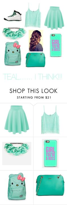 """""""TEAL......I THINK!!!!!!????"""" by mynameisyaya ❤ liked on Polyvore featuring H&M, Retrò, DailyLook, Hello Kitty, DKNY, women's clothing, women, female, woman and misses"""