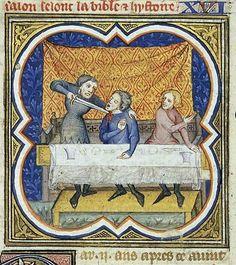 """""""Amnon ucciso durante il banchetto di Assalone"""", miniatura tratta dalla 'Grande Bible Historiale Complétée' (1371-1372), Koninklijke Bibliotheek, L'Aia."""
