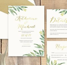 This watercolour range wedding stationery range with foiling is perfect for an…