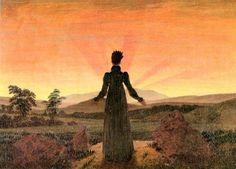 Caspar David Friedrich, femme au soleil levant