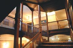 A wooden staircase makes its way up all flights in the middle of Mohonk Mountain House. (Daily Freeman photo by Tania Barricklo)
