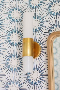 Blue & White forever 💙🤍 💡 Penz Medium Cylindrical Sconce by AERIN. Interior Design: @wendymaurodesign 📷: @margaret.wright O Design, Interior Design, Circa Lighting, White Bathroom, Lighting Design, Sconces, Wall Lights, Blue And White, Antiques