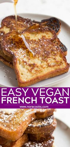 EASY Vegan French Toast, made with everyday ingredients. You won't miss the eggs, my secret ingredient works perfectly! EASY Vegan French Toast, made with everyday ingredients. You won't miss the eggs, my secret ingredient works perfectly! Vegan Breakfast Recipes, Vegan Recipes Easy, Gourmet Recipes, Whole Food Recipes, Vegetarian Recipes, Cooking Recipes, Easy Vegan Dishes, Vegan Easy, Vegetarian Breakfast