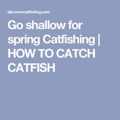 Go shallow for spring Catfishing |        HOW TO CATCH CATFISH
