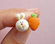 Mismatched Earrings, Rabbit Earrings, Animal Earrings, Carrot Earrings, Funny Jewelry, Small Girls Jewelry Small Girls Gifts Christmas Gift