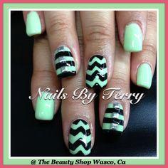 Mint and black Chevron stripe gel nails