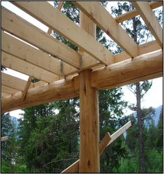 Round hand peeled log post and bearing  for 2x  deck joists.  Keep the wood away from damp dirt and moister. This was a walk out basement common in the Rocky Mountains.      Most porches will be out of concrete unless you do a optional wood deck off the ground this is a good place to store flammable junk.