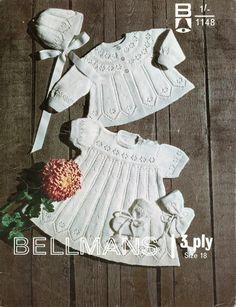http://www.theretroknittingcompany.co.uk vintage baby lace knit pattern, coat, jacket, cardigan, dress, bonnet