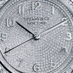 The special edition white gold Tiffany CT60™ 3-Hand watch from #TiffanyBlueBook features 1,274 diamonds that swirl like the tides.