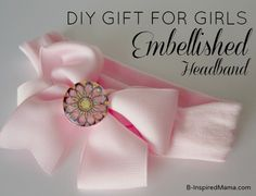 Make a Hair Bow for your little girly girl with a sparkly flower charm. B-InspiredMama.com