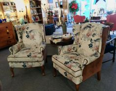 pair of queen anne style reproduction antique wing chairs green