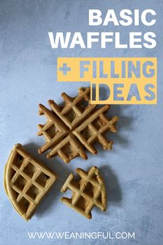 These easy waffles are great for baby led weaning and first foods from 6 months and up. They can be filled with fruit, veggies, leftovers, nuts, meat or cheese and are greatly customizable.
