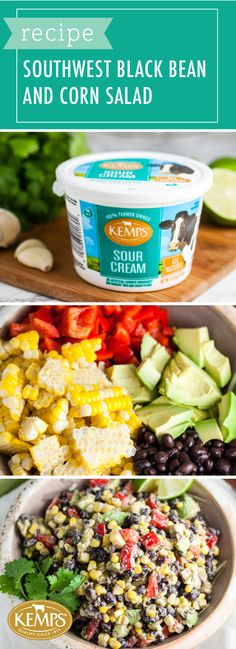Bring the flavor to your next backyard get-together with help from this Southwest Black Bean and Corn Salad Recipe. Starring a cilantro lime dressing made with Kemps® Sour Cream, it's not hard to see why this will become your new go-to side dish for every occasion! Picnics, potlucks, and parties will never be the same when you serve up this colorful salad.