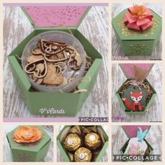 Favor Boxes, Gift Boxes, Stampin Up, Hexagon Box, Fun Crafts, Paper Crafts, Window Boxes, Packaging Ideas, 3d Projects