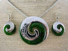 Silver and Some - Necklace Set, Koru Necklace and Earring Set - Green