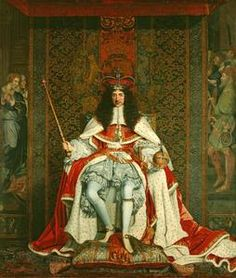 Charles II (1630-85) c.1661-2, Oil on canvas, by John Michael Wright, purchased by Queen Victoria.    The king, wearing St Edward's crown, dressed in parliamentary robes over the Garter costume and carries the new orb and sceptre. The portrait is unusually formal for this date, as the King is shown in a pose more commonly seen on seals and coins. (Trunk hose and doublet of the Garter suit itself on this board.) This painting belongs to The Royal Collection.  RCIN 404951