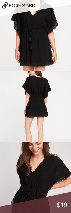 bathing suit cover-up kaftan black This adorable breezy kaftan is perfect for the beach! Throw it over your bathing suit or just lounge around the house in it.  Adorable trim with tie at waist so it is uber flattering! Swim Coverups