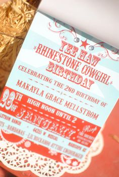 Custom Cowgirl/Cowboy Birthday Invitation by PaperPrincessStudios, $10.00