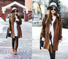 hat, stradivarius; pants, h&m; coat, romwe.com; sunglasses, ray-ban