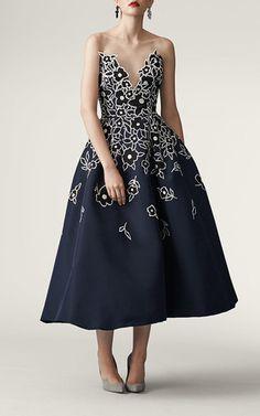 Strapless V Neck Dress by CAROLINA HERRERA for Preorder on Moda Operandi