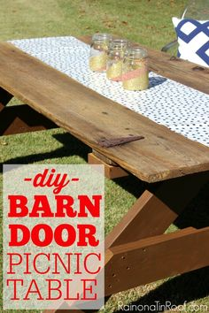 How To Build A Picnic Table Out Of A Barn Door