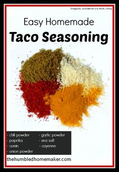 Making your own taco seasoning is super easy and will save you money! This post gives a recipe for an easy homemade taco seasoning.-this was a very basic taco seasoning recipe. I thought it was a little bland. Homemade Taco Seasoning Mix, Homemade Tacos, Seasoning Mixes, Seasoning Recipe, Taco Meat Seasoning, Homemade Spices, Homemade Seasonings, Homemade Food, Mexican Food Recipes