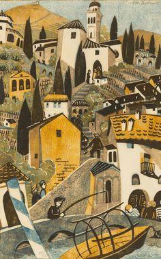Lill Tschudi (Swiss Morcote( - linocut printed in colours 36 x cm, Art And Illustration, Kitsch, Linocut Prints, Art Prints, Lawrence Lee, Medieval, Vintage Artwork, Japanese Prints, Woodblock Print