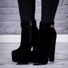 Buy IMMERSE Block Heel Concealed Platform Ankle Boots Black Suede Style Online $39