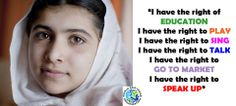"Malala Yousafzai, ""I have the right of Education"".  Spread by www.compassionateessentials.com and http://stores.ebay.com/fairtrademarketplace/"