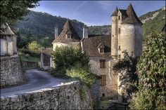 Autoire, one of the prettiest villages in the Lot Department of France.  Near the Chateau Limargue.