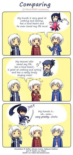 Shiro and Kuroh - K-project Shion and Nezumi - No.6 Allen and Kanda - D.Gray.Man