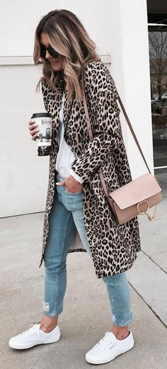 how to wear with an animal printed coat : blouse + bag + jeans + sneakers