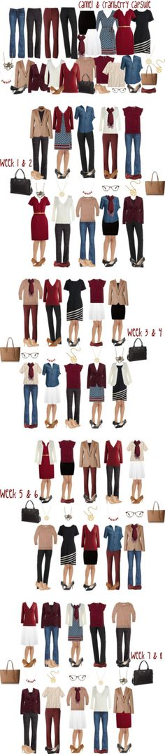 Camel & Cranberry Work Capsule Wardrobe (Mid-Level executive) Have lots of wine/cranberry to use with this.