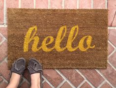 Hello welcome mat. Hand painted, customizable doormat gives your visitors a warm and colorful greeting. by NickelDesignsShop on Etsy https://www.etsy.com/listing/232978470/hello-welcome-mat-hand-painted