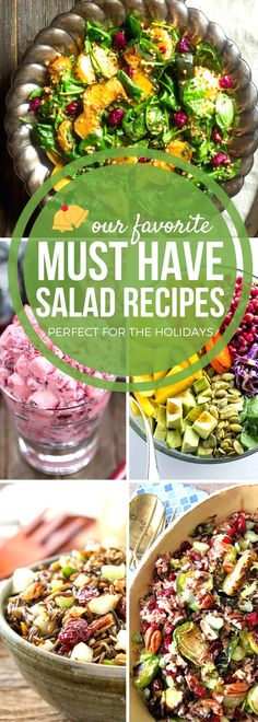 From leafy greens and fruit salads to dessert fluffs, our favorite holiday salad recipes add brightness and color to your holiday table for a festive and delicious meal! Balance out the traditional Thanksgiving and Christmas dinner with lighter salad recipes. Using fresh ingredients maximizes flavor and is a healthy addition to your holiday menu. #SundaySupper #HolidayRecipes #SaladRecipes