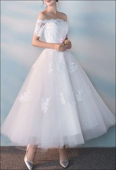 Off Shoulder Prom Dress White Short Wedding Dress,Wedding Dresses, Wedding Robe, Dream Wedding Dresses, Wedding Attire, Bridal Dresses, Prom Dresses, 1950 Wedding Dress, Tulle Wedding, Wedding Reception, Wedding Gowns
