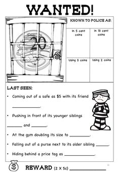 This is a worksheet from the pack: Australian Money Posters and Worksheets Higher Order Thinking HOTS Grade 2 - Fun and engaging worksheets. Make wanted money posters, sort money and make totals using Australian coins and notes. Directly related to curriculum documents. The posters display totals using different combinations of coins and notes. Check it out here: https://www.teacherspayteachers.com/Product/Australian-Money-Posters-and-Worksheets-Higher-Order-Thinking-HOTS-Grade-2-2581500