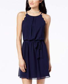 665e91eec Bcx Juniors' Scalloped Sleeveless Dress with Sash Belt Junior Prom Dresses  Short, Junior Outfits