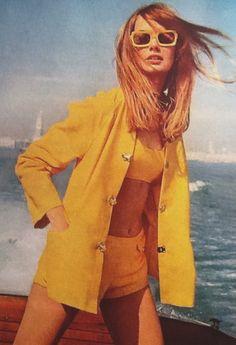 Jean Shrimpton models yellow swimwear