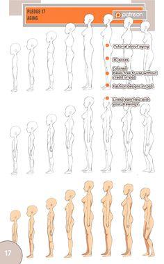 Anatomy Drawing Fullbody Aging by Precia-T - Body Reference Drawing, Human Figure Drawing, Body Drawing, Anatomy Drawing, Anatomy Art, Anatomy Reference, Drawing Skills, Art Reference Poses, Drawing Lessons