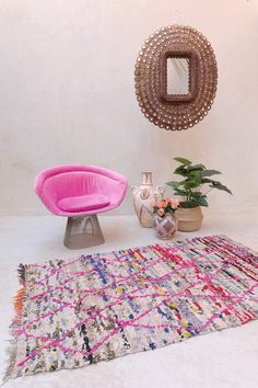 #moroccanrug #pinkrugco  #chezsnobette https://www.etsy.com/listing/246493461/flower-fables-66-x-41-boucherouite-rug?ref=shop_home_feat_4