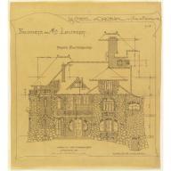 Rear Facade, Castel d'Orgeval, Parc Beauséjour near Paris: Elevation, Hector Guimard, 1904